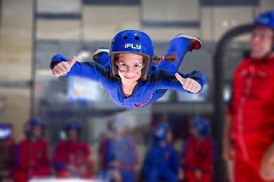 Child flying in wind tunnel 5